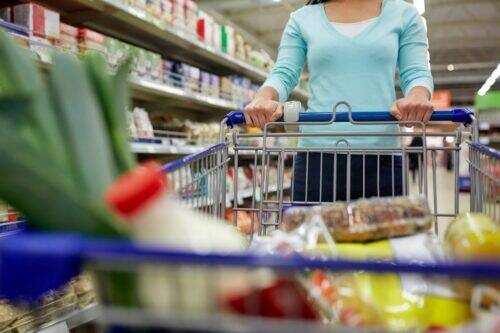 woman-with-food-in-shopping-cart-at-supermarket-PF8BRWT-1024x683