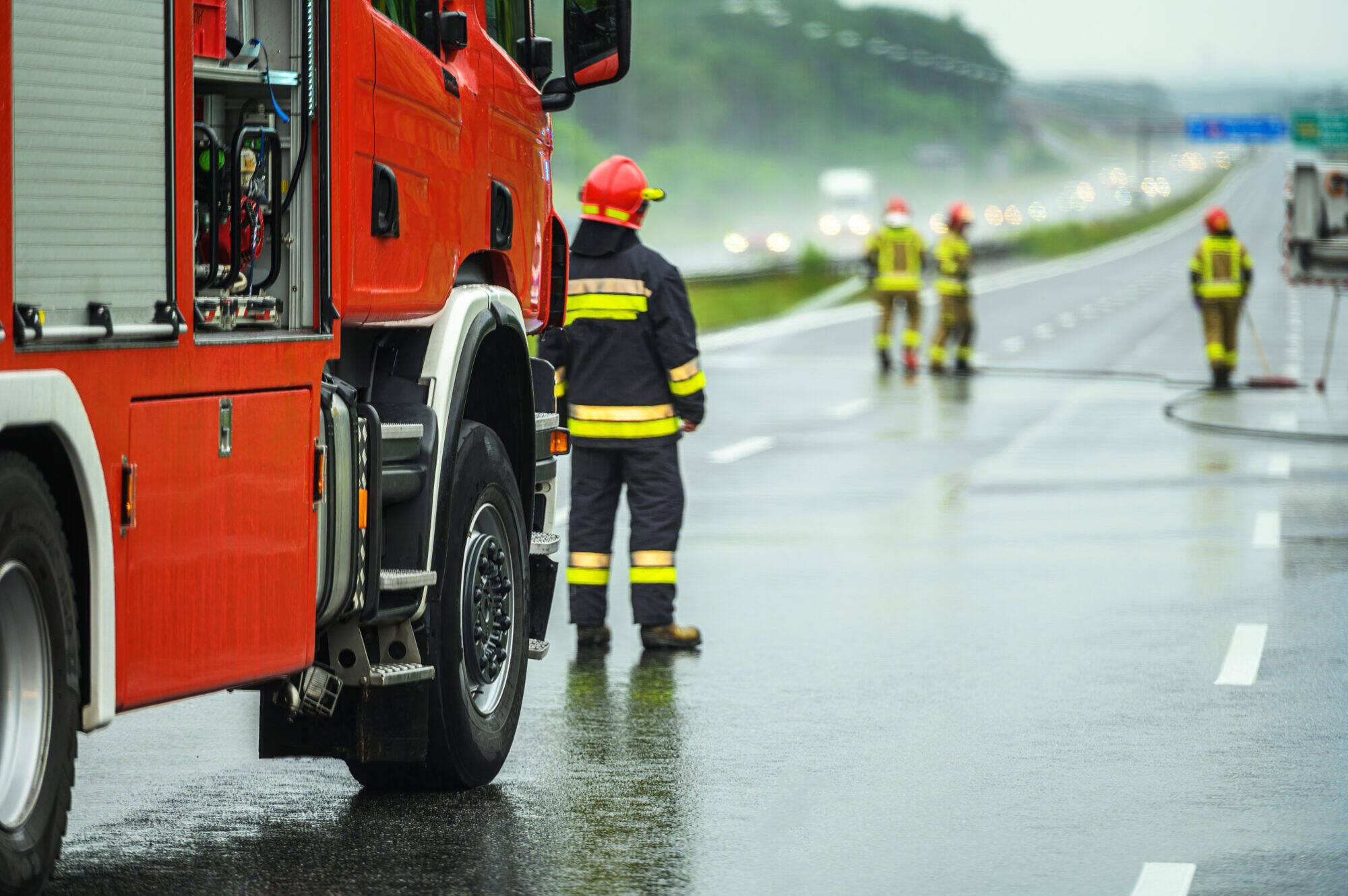 Accident route pompier